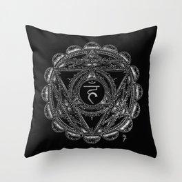 Black and White Throat Chakra Throw Pillow