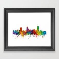 Raleigh North Carolina Skyline Framed Art Print