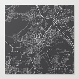 Stuttgart Map, Germany - Gray Canvas Print