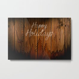 "Happy Holidays on Wood ""Trees"" Metal Print"