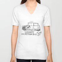 mini cooper V-neck T-shirts featuring Mini Cooper Classic (ADO15) by Swasky