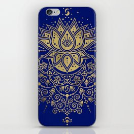 Sacred Lotus Mandala – Navy & Gold Palette iPhone Skin