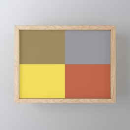 Yellow Gray Brown Orange Geometric Minimal Design Framed Mini Art Print