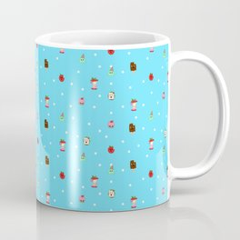 Sad Food by Squibble Design - Repeating Pattern on blue polka dot background Coffee Mug