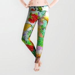 YELLOW IRIS BUTTERFLY SPRING GARDEN BURGUNDY TRIM Leggings