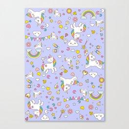Unicorn Lilac Pattern Canvas Print