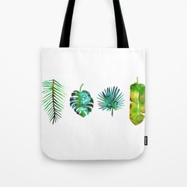 Four Tropical Leaves Tote Bag