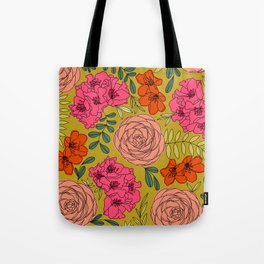 Summer Pastel Rhododendrons and Ranunculus Modern Floral Print Tote Bag
