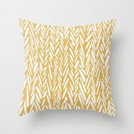 Herringbone pattern - yellow Throw Pillow