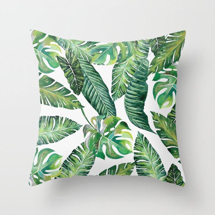 Jungle Leaves, Banana, Monstera #society6 Throw Pillow