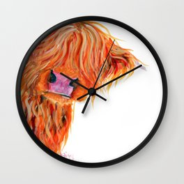 Scottish Hairy Highland Cow 'Peekaboo' by Shirley MacArthur Wall Clock