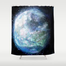 Painted Earth Expressionist Painting Shower Curtain