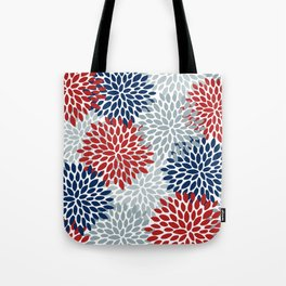 Floral Dahlia Print, Red, Navy, Blue, Gray Tote Bag