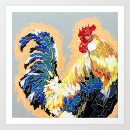 Paint 04 Chuck Funky Rooster Painting Art Print