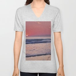 Barrosa Beach Waves At Sunset. Cadiz Unisex V-Neck
