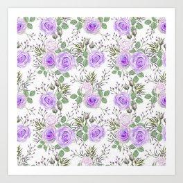 Purple Roses, Shabby Floral Art Print