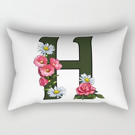 Letter H, Initial H, Monogram, Floral Decorated Letter Rectangular Pillow