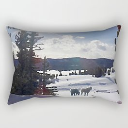 Two Horses in the Snow Rectangular Pillow