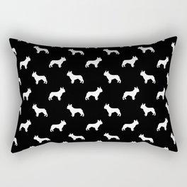 French Bulldog silhouette black and white minimal dog pattern dog breeds Rectangular Pillow