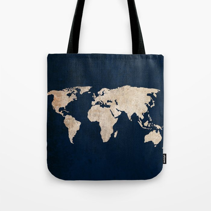 Inverted Rustic World Map Tote Bag by bysamantha | Society6