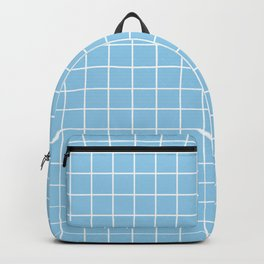 Light cornflower blue - heavenly color - White Lines Grid Pattern Backpack