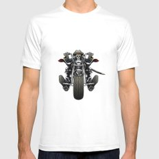 Skull' s motorcycles pattern White Mens Fitted Tee MEDIUM