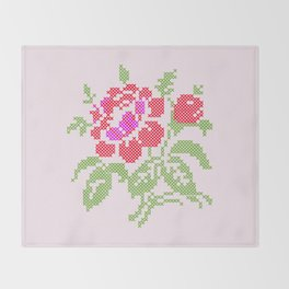 Embroidered red rose Throw Blanket
