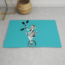 Juggling Unicyclist Rug