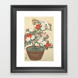 Vintage Azalea Japanese Woodcut Framed Art Print