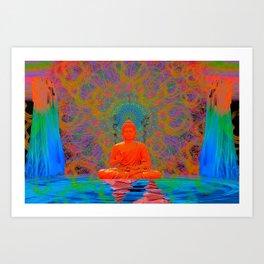 Cool Water Zen (Ultraviolet) (psychedelic, meditation) Art Print