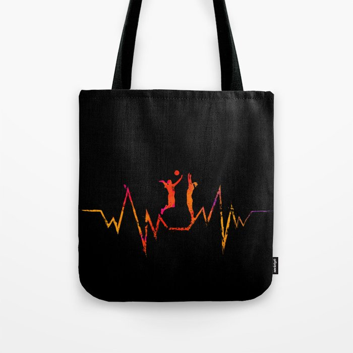 Volleyball Heartbeat Cool Gift for Sport Lovers Premium graphic Tote Bag