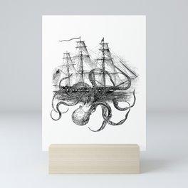 Octopus Attacks Ship on White Background Mini Art Print