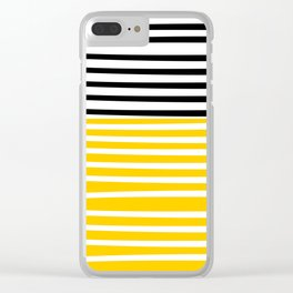 Cute yellow pattern with stripes Clear iPhone Case