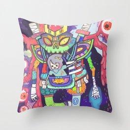 Kuri and the Kaiju Throw Pillow