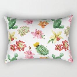 Watercolor Cacti Pattern Rectangular Pillow