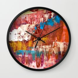 Desert Sun [5]: A bright, bold, colorful abstract piece in warm gold, red, yellow, purple and blue Wall Clock