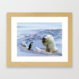 Cute Polar Bear Cub & Penguin Framed Art Print