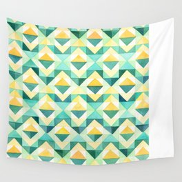 Quilted Diamond // Geometric Watercolor Pattern Wall Tapestry