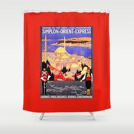 Vintage Simplon Orient Express London Constantinople Shower Curtain