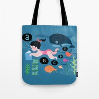 swimming Tote Bags featuring Swimming by Sugar Snap Studio