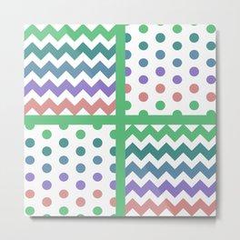 White/Multicolor Chevron/Polkadot 3 Teal Green Purple Blue Muted Color Palette Metal Print