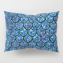 Sparkly Turquoise & Blue & Glitter Mermaid Scales Pillow Sham