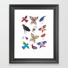 Birds and Butterflies  Framed Art Print
