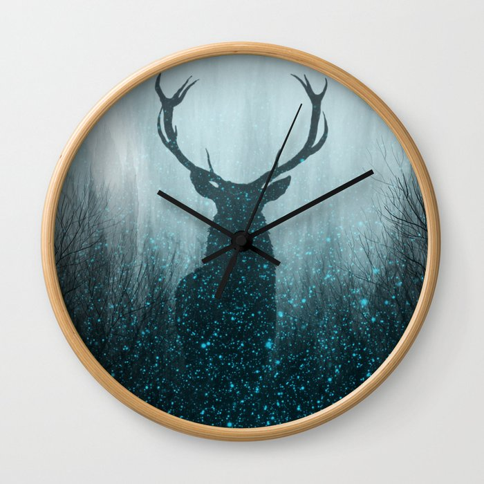 Snow Stag Silhouette Wall Clock