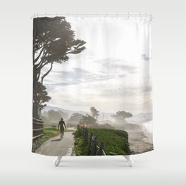 Surfer Walking to the Beach Shower Curtain