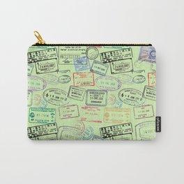 Worldly Traveler - Passport Pattern - Light Green Carry-All Pouch