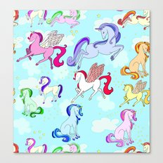 Unicorn repeating pattern colorful on blue Canvas Print