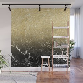 Modern girly luxurious faux gold glitter black marble pattern Wall Mural