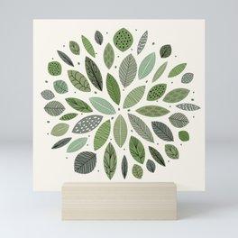 Mid-Century Green Leaves Mini Art Print