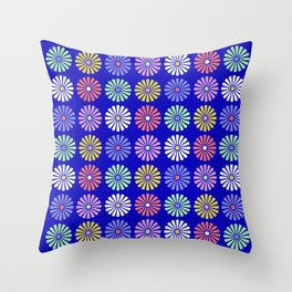 Pastel Flowers Pattern (On Blue) Throw Pillow